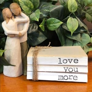 "3 farmhouse inspired books stamped ""Love you more"""
